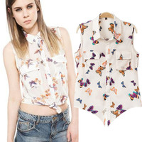 Butterfly Print Shirt Collar Sleeveless Cropped Top