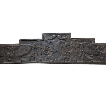 Headboard Double Headed Eagles Fish Elephant Carved Wall Sculpture