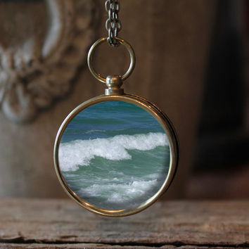 Ocean Waves Compass Necklace, Nautical Jewelry, Waves Jewelry, Ocean Art, Ocean Jewelry, Compass Jewelry, Gift Idea, Ocean
