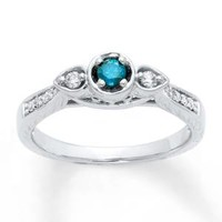 Diamond Engagement Ring 1/4 ct tw Blue/White 10K White Gold