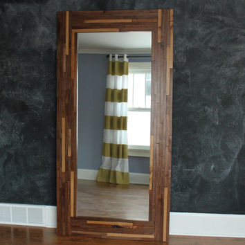 Floor MIrror made of Walnut and Oak in Butcher Block Style