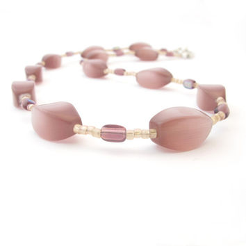 Plum Purple Cat's Eye Beaded Necklace