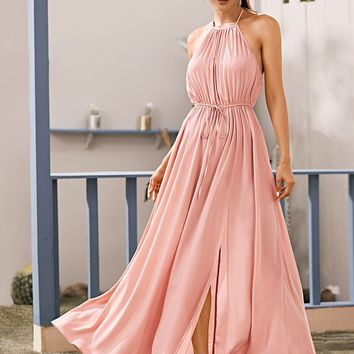 Split Thigh Pleated Backless Halter Dress