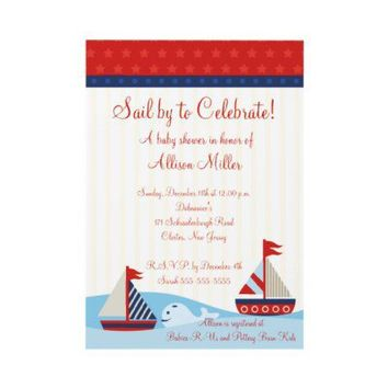 Nautical Sail By to Celebrate Boy Baby Shower Invites from Zazzle.com