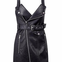 Leather Overall Dress - Black