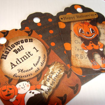 Whimsical   Vintage Look Halloween Gift Tags set of 6 Black and Orange Fun And Unique
