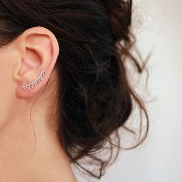 SALE Ear cuff,  sterling silver or Gold  Ear Climber ,  Crown earrings ,  gift for her ,