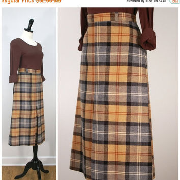 Vintage Plaid Wool Skirt, Fall / Autumn 1970s Camel Tan and Grey Plaid Skirt with Front Kick Pleat, Skirt Size M