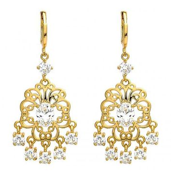Gold Layered Chandelier Earring, Flower Design, with Cubic Zirconia, Gold Tone