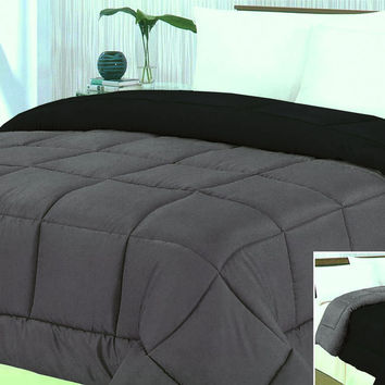 "Cozy Home 1-Piece Microfiber Reversible Solid Comforter - Twin - 66"" x 86"" - (Silver/Black)"