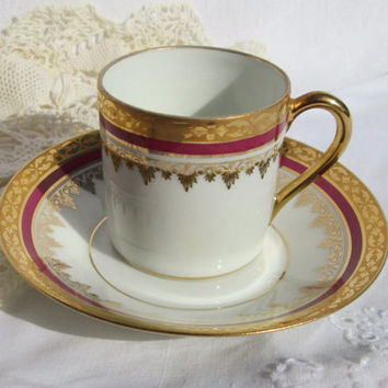 Porcelaine Limoges France Burgundy and Gold Demitasse