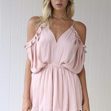 Angel In Blush Playsuit (Blush) | Xenia Boutique | Women's fashion for Less - Fast Shipping