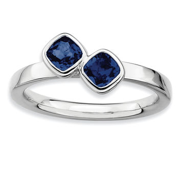 Sterling Silver Stackable Expressions Dbl Cushion Cut Cr. Sapphire Ring