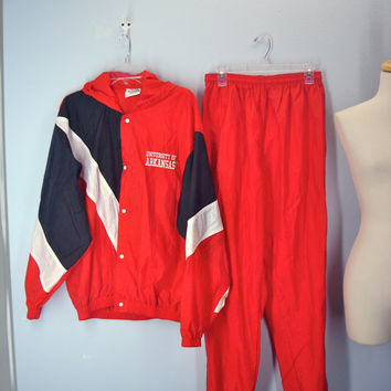 Vintage 80s Windsuit / Arkansas Razorbacks / 1980s University of Arkansas / Wind Suit L