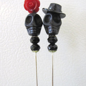 Rockabilly Gangster and Moll Day of the Dead Cake Topper Sugar Skull Gothic Wedding Pin Bride Groom
