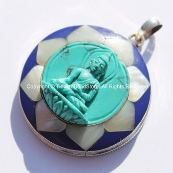 92.5 Sterling Silver & Hand Carved Turquoise Green Resin Buddha Pendant in Hand Carved Shell Pearl and Lapis Inlaid Lotus - SS98