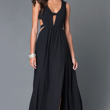 Long V-Neck Open Back Gown TE-5011 with Cut Outs by Temptation