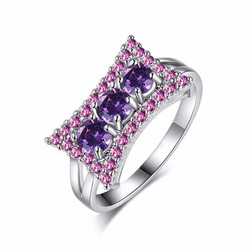 ELEGANT AMETHYST WHITE GOLD FILLED CZ RING UNIQUE DESIGN VINTAGE PARTY WEDDING RINGS FOR WOMEN CHRISTMAS FASHION JEWELRY