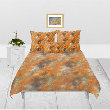 Duvet Cover - 3 different sizes, Without, Insert, Bedroom, Home, Decor, Abstract, Pattern, Classic, Golden, With, Shams, Orange, Abstract