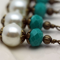 Vintage Style Bead Dangle Charm Drop Set in Brass with White Pearl and Multifaceted Turquoise Shaded Crystals