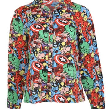 Marvel Comic Book Patterned Shirt - M | Womens | Rokit Vintage Clothing