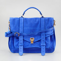 PS1 Suede Large Satchel Bag, Cobalt