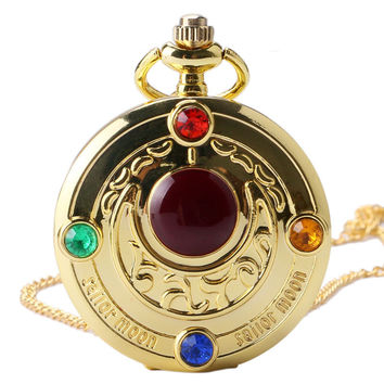 Famous Fashion Colorful Anime Sailor Moon Series Gift Women Lady Girl Quartz Pocket Watch Necklace