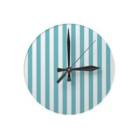 Blue Curacao And Vertical White Stripes Patterns Wall Clocks from Zazzle.com