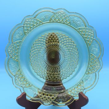 Rare Federal Glass Co Mayfair Depression Plate Vintage Mayfair Yellow Dinner Plate 1930s Depression Glass Diamond Dutch Roses Scalloped Edge