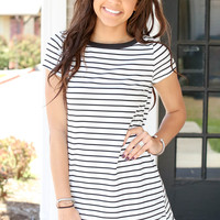 Lazy Summer T Shirt Dress - Black and Ivory
