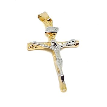 "(1-2220-h7) Gold Overlay Two Tone Crucifix, 1-1/2""."