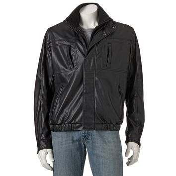 Chaps Faux-Leather Bomber Jacket