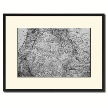Us Pacific Northwest Vintage B&W Map Canvas Print, Picture Frame Home Decor Wall Art Gift Ideas