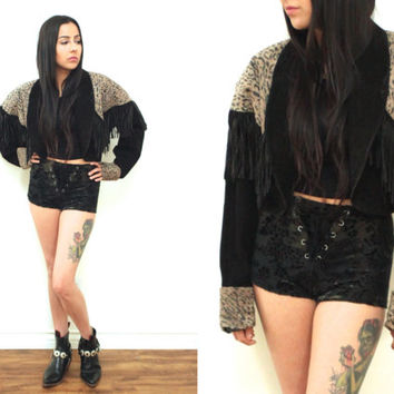 Vintage 80s FRINGE Cheetah Print Black Cropped Suede Leather Jacket Blazer // Biker Hipster Grunge // XS Extra Small / Small / Medium