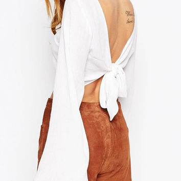 Bell Sleeve Backless Knotted Cropped Top