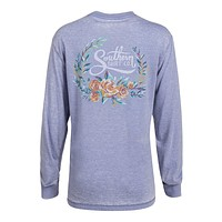 Forest Florals Long Sleeve Tee in Frost Blue by The Southern Shirt Co. - FINAL SALE