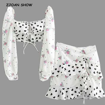 2019 New Fashion Heart Floral Print Short T-shirt Crop Top Sexy Women Ruffles Hem Mini Short Skirt Long Sleeve Tops 2 Pieces Set