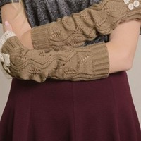 Mocha Lace Trim Arm Warmers