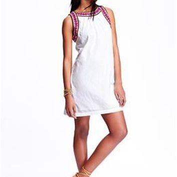 Women's Embroidered Dobby-Pattern Shift Dresses