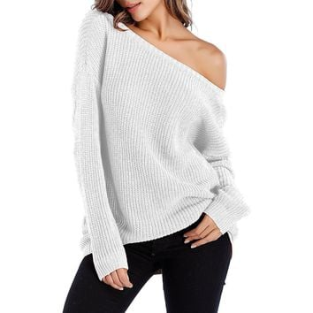 Burgundy Off The Shoulder Slouchy Pullover Sweater