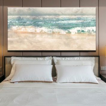 Posters and Prints Wall Art Canvas Painting, Modern Abstract Beach Surf Landscape Wall Art Pictures For Living Room Home Decor