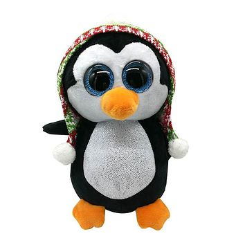 "Original 6"" 15cm TY Beanie Boos Penelope Christmas Penguin Plush Stuffed Animal Collectible Doll Toy 2017 New Birthday Gifts"