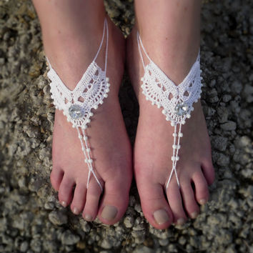 Crochet white barefoot sandals Beach wedding shoes Bridal foot jewelry Lace summer sandals Barefoot sandles Wedding accessories Anklet yoga