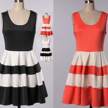 BLACK RED Sleeveless Wedding Event Party COTTON Striped Dress S/M/L/1XL/2XL/3XL