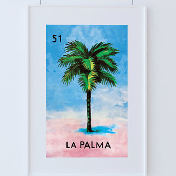 Loteria La Palma Mexican Retro Illustration Art Print Vintage Giclee on Cotton Canvas and Paper Canvas Poster Wall Decor