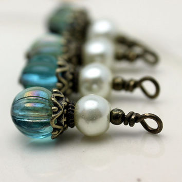 Vintage Style Czech Aquamarine Celsian Melon Crystal and White Pearl Bead Dangle Charm Drop Set - 4 Piece