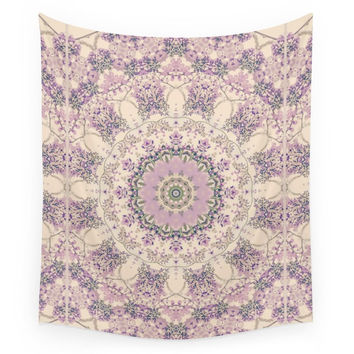 Society6 47 Wisteria Circle Vintage Cream And Lav Wall Tapestry