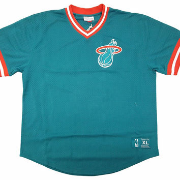 Mitchell & Ness Miami Heat Pullover Jersey In Teal/Orange