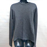 J. Crew 100% Merino Wool Sweater - 1990's Dressy Crewneck - Ribbed Charcoal Gray - Men's Medium (M)