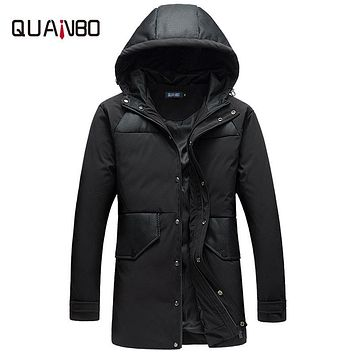 QUANBO 2017 New Arrival Thick Winter Down Jacket Men Warm Fashion Brand Clothing Quality Long Male 90% White Duck Coat Plus size